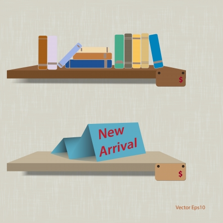 Book shelf on blue background vector Vector