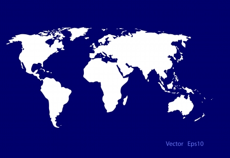 deep blue: vector world map on deep blue  background,eps 10