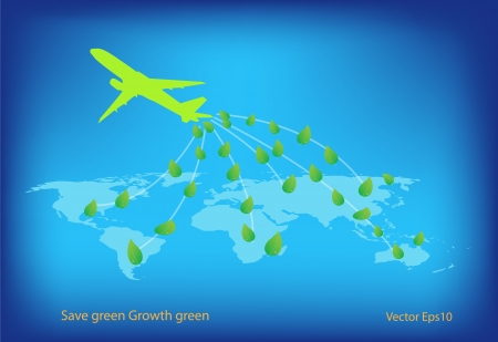 Green concept forest performing by blows seed from airplane Stock Vector - 18318326