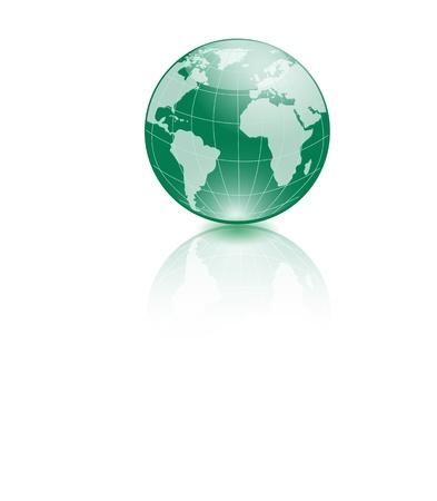 Green World globe - editable  illustration Stock Vector - 18318329