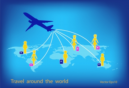 Airplane travel around the world with global background Vector