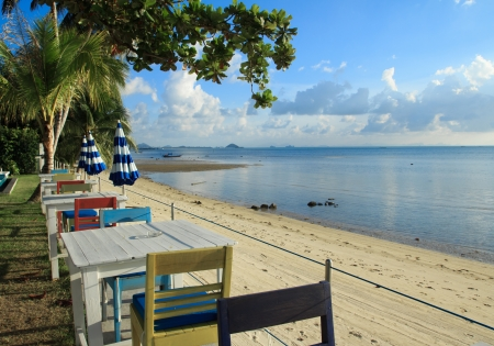 outdoor beach restaurant at tropical resort  photo