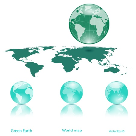 Green Globes of Earth Isolated on White,Ecology concept Stock Vector - 18328061