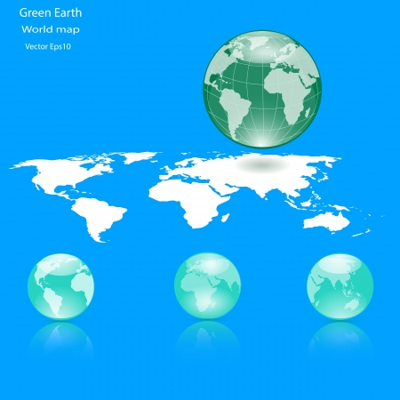 Green Globes of Earth on Blue Ocean Background,Ecology concept  Stock Vector - 18328059