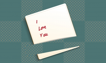I love you text on checkered pattern with brown polka dots background, photo