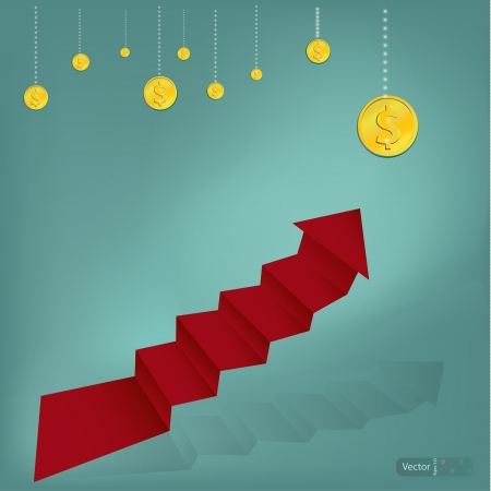 Stairs To Wealthy on Green background  Vector