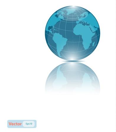 Glossy Blue Globe Icon Stock Vector - 18686484