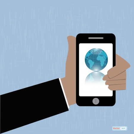 Hand holding smartphone with globe icon