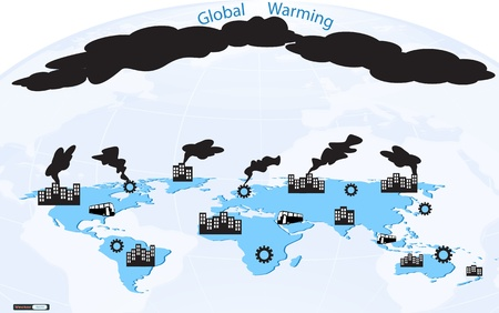 global warming with world map background Stock Vector - 18759407