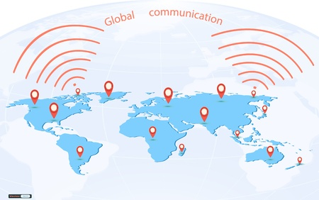 Map pointer mark on world map,Globe communication concept Vector