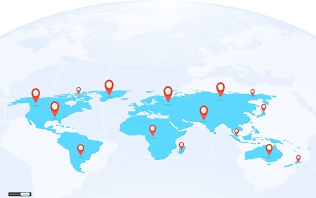 Map pointer mark on globe background