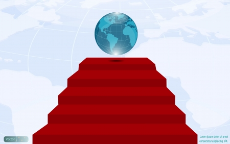 Blue globe on red carpet,Leadership concept Vector