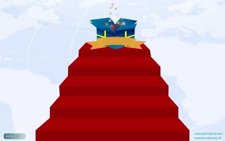 Magic gift box on red carpet,vector design Vector