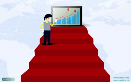 Businessman shown graph profit on red carpet,Vector design Vector