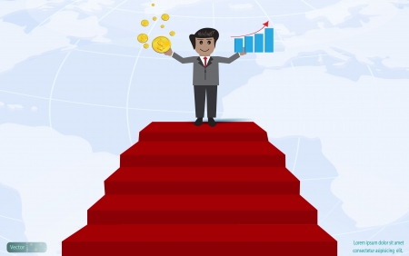 Businessman shown graph profit and wealthy,Vector design Vector
