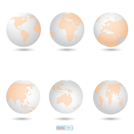 Globe icon with all continent map Vector