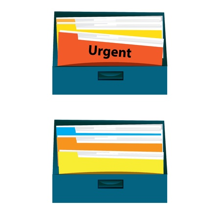Urgent document file in drawer Vector