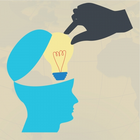 Hand take lightbulb from brain,Steal idea concept Vector