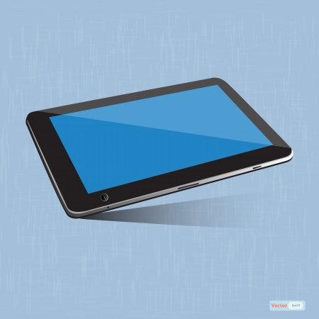 Tablet pc touchscreen on blue background Vector