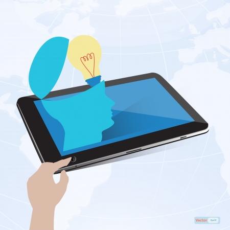 Tablet, brain and light bulb Stock Vector - 18891054