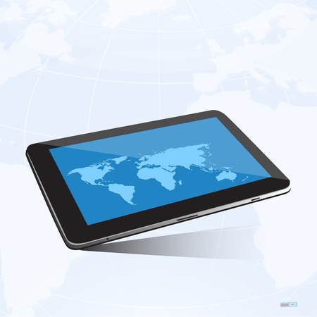 tablet screen and world map background Vector