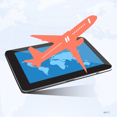 Tablet screen with airplane and world map background,Transportation concep