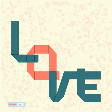 love text paper art on abstract background Stock Vector - 19199629