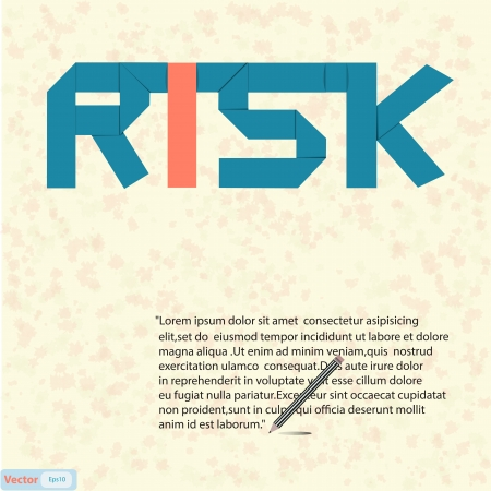 Risk text paper art on abstract background Stock Vector - 19199624