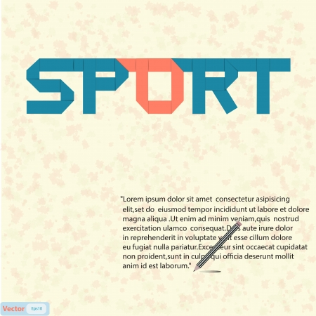 Sport text paper art on abstract background Stock Vector - 19199625
