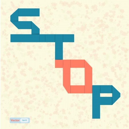 Stop text paper art on abstract background Stock Vector - 19199623