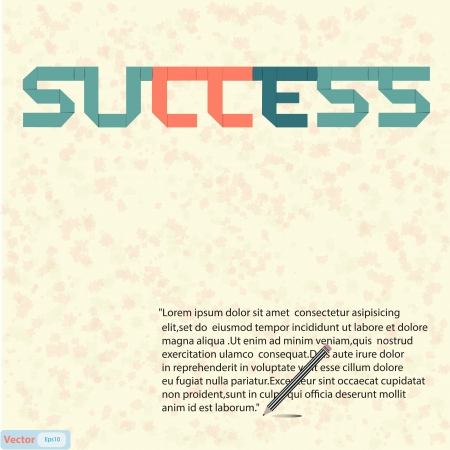 Success text paper art on abstract background  Stock Vector - 19199627