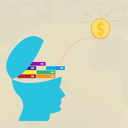 Cerebro pensante dinero de origen los conocimientos, vector eps 10 Ilustración de vector