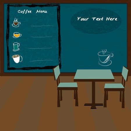 Coffee shop and menu bar drawn on chalkboard Vector
