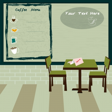 Coffee shop and menu bar drawn on chalkboard Vector