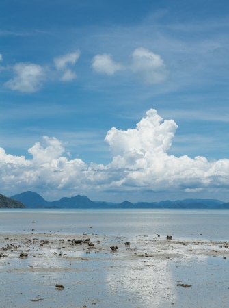 wavelet: Seascape with big white clouds,sky and blue sky Stock Photo