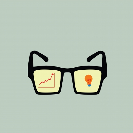 Graph growth and bulb on glasses,successful concept,vector eps10 Vector