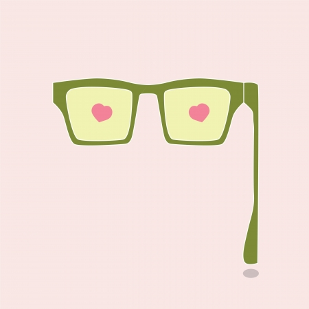 Eye glasses with love heart icon ,vector eps 10 Stock Vector - 19654167