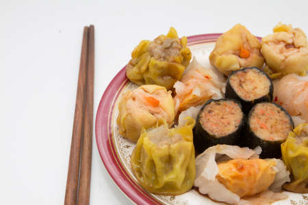 gyoza: Chinese cuisine, steamed shrimp gyoza  and dimsum on white background