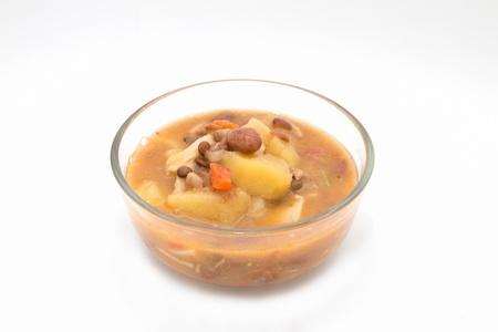 roman beans: Italian homemade vegetable soup isolated on white