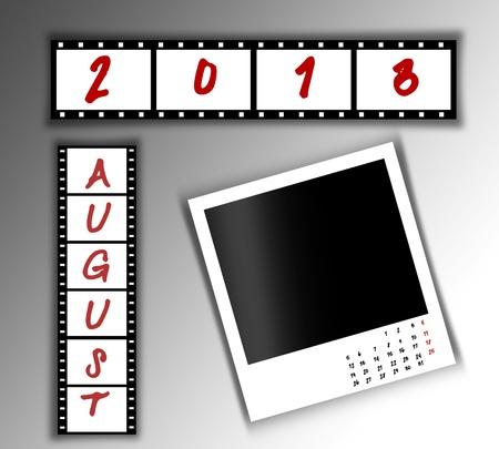2013 Calendar August,Film strip design photo