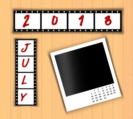 2013 Calendar July,Film strip design photo