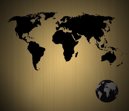 world map  on wood board background photo