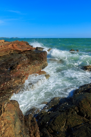 Long exposure seascape with fantastic rock surface photo