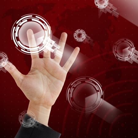 Hand point on visual technology screen background photo