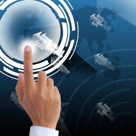 Hand point on visual technology screen background Stock Photo - 20835098