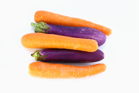 Carrot And Eggplant  Isolated On White Background photo