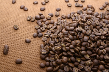 corkwood: Heaps of coffee beans on grung wooden board background
