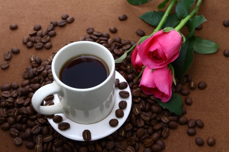 Pink rose black coffe cup and coffee beans on cork board photo