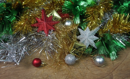 Christmas ornaments decoration on wooden background photo