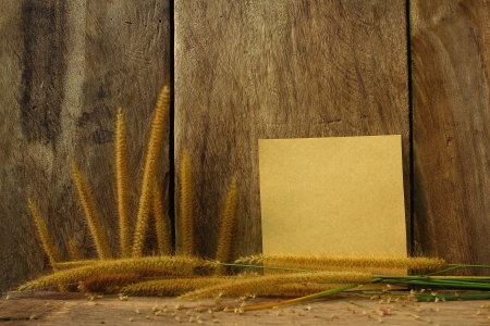 Still life with Foxtail grass and notepad on wooden background photo